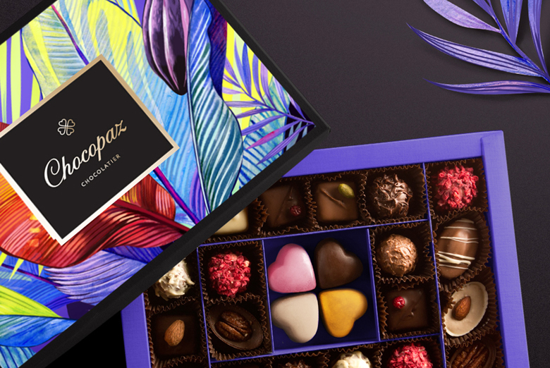 Создание дизайна бренда, айдентики и дизайна упаковки бренда изысканного бельгийского шоколада ручной работы Chocopaz