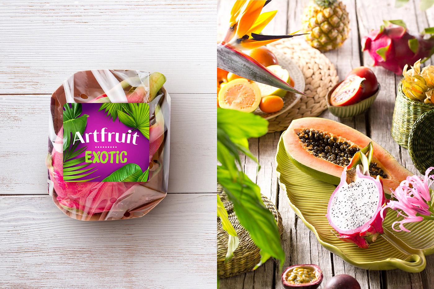 Дизайн этикетки упаковки экзотических фруктов