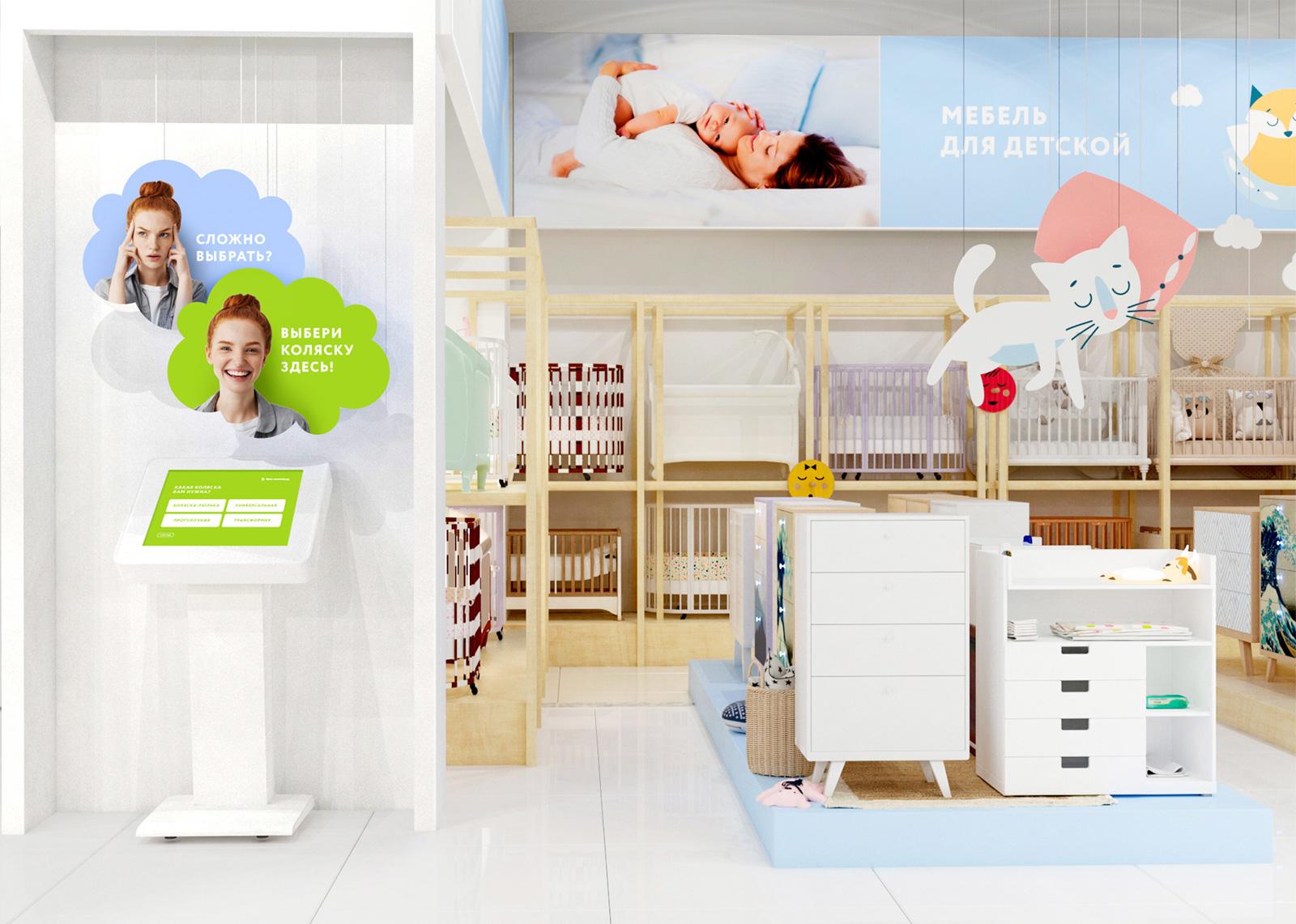 Разработка концепции дизайна интерьера магазина «Купи коляску», секция мебели для детской