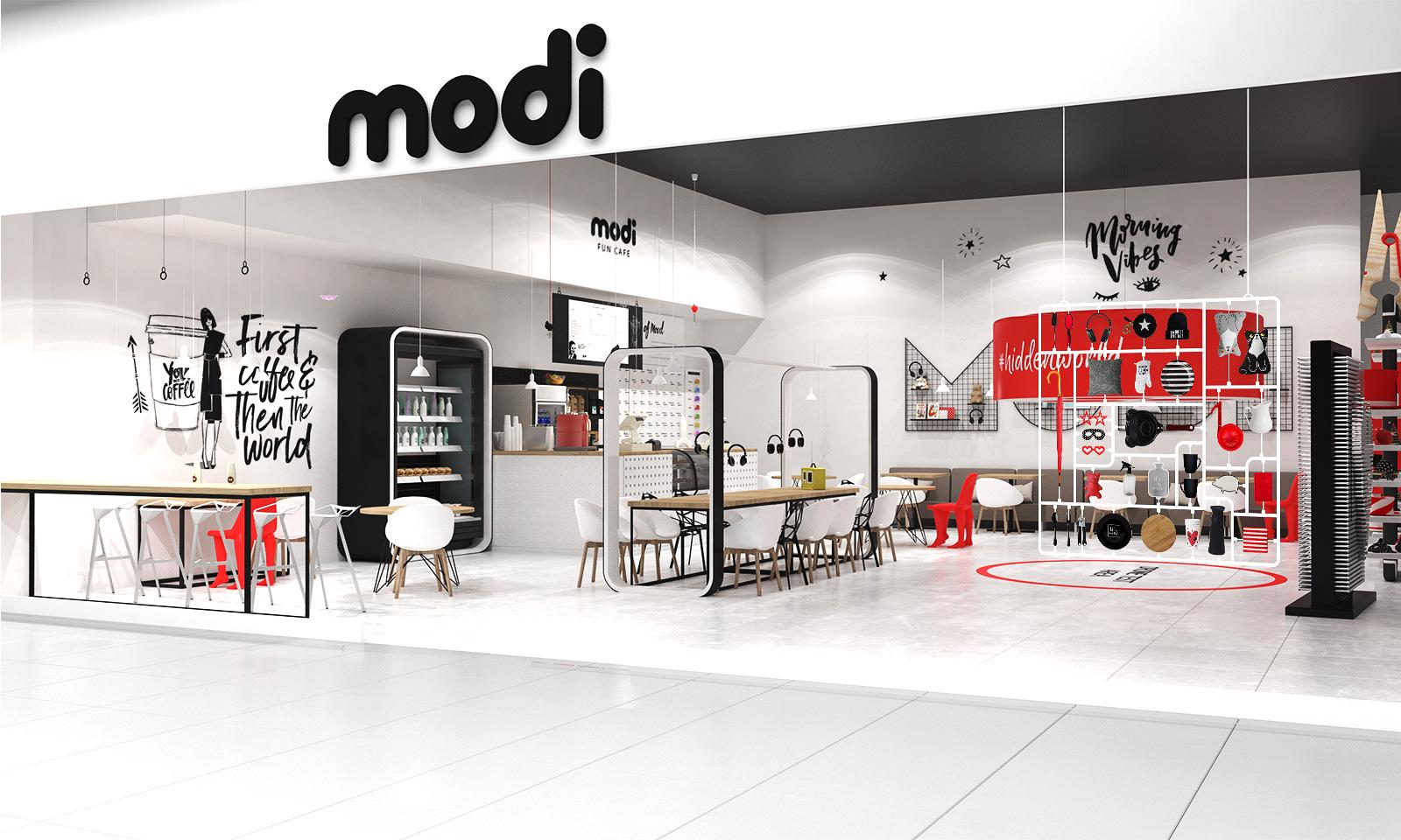 Дизайн кафе продолжает общий фирменный стиль магазинов Modi, привлекает внимание и позволяет посетителям задержаться в торговой точке дольше, получить больше положительных эмоций.