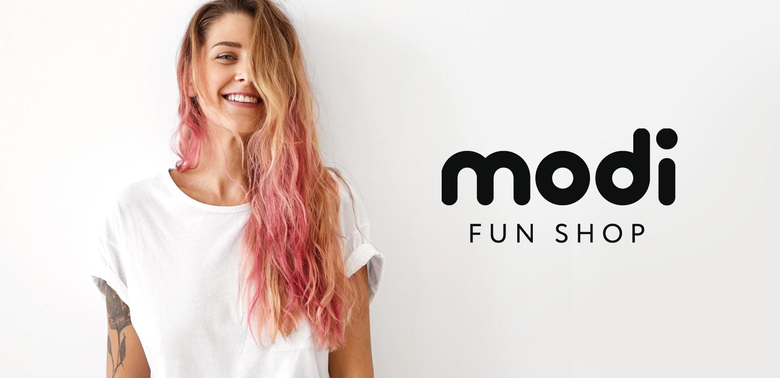 Ритейл-брендинг Modi Fun Shop — сети магазинов необычных вещей и эмоциональных подарков с авторским дизайном и доступными ценами для отличного настроения.
