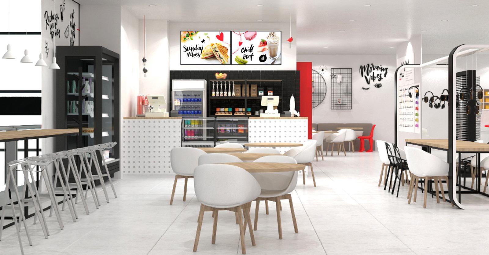 Дизайн-проект интерьера кафе Modi разработан на примере объекта площадью 80 кв.м и позволяет с легкостью масштабировать формат под любое помещение