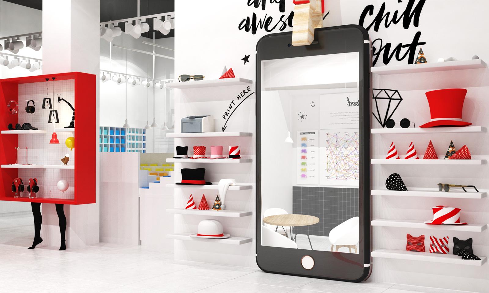 Уникальные арт-объекты —неотъемлемая составляющая дизайна интерьера магазина Modi