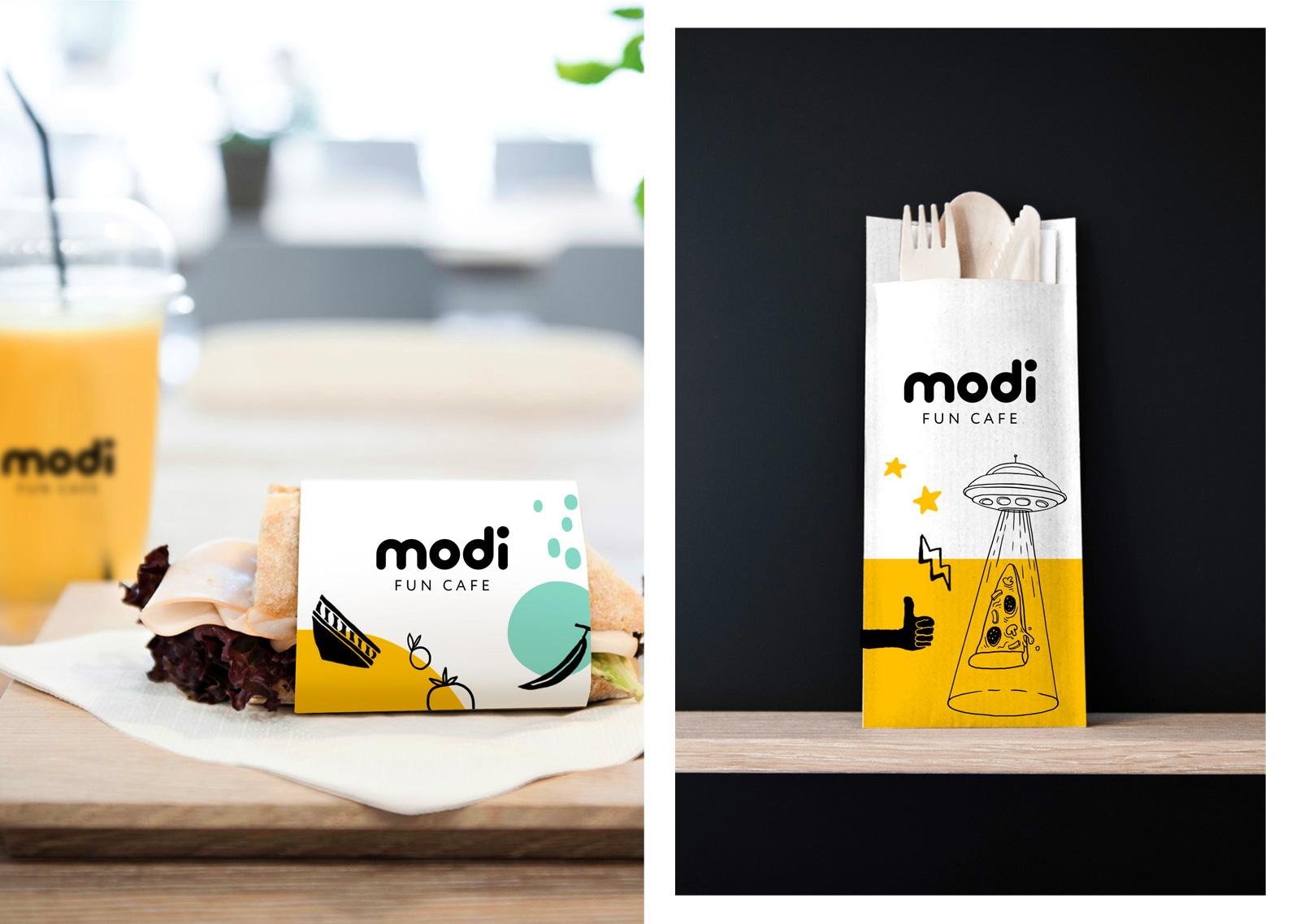 Дизайн упаковки продукции на вынос —неотъемлемая составляющая фирменного стиля бренда, а также концепции дизайна кафе Modi