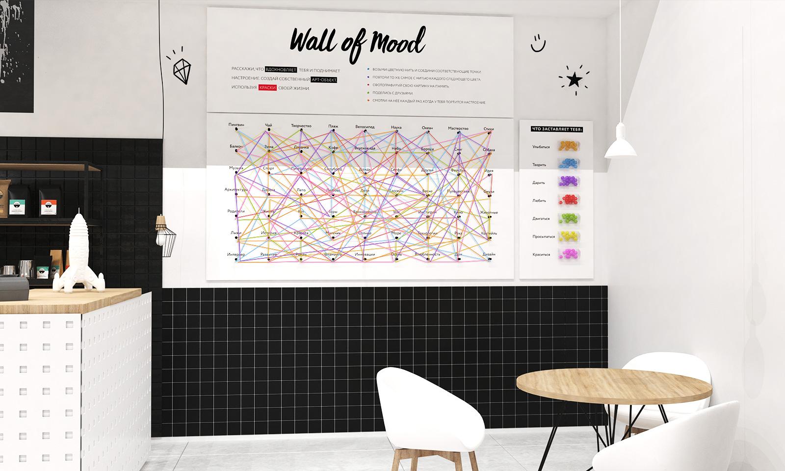 Дизайн интерьера Modi Fun Cafe включает множество интерактивных элементов, которые вовлекают, заставляют посетителя улыбнуться или задуматься