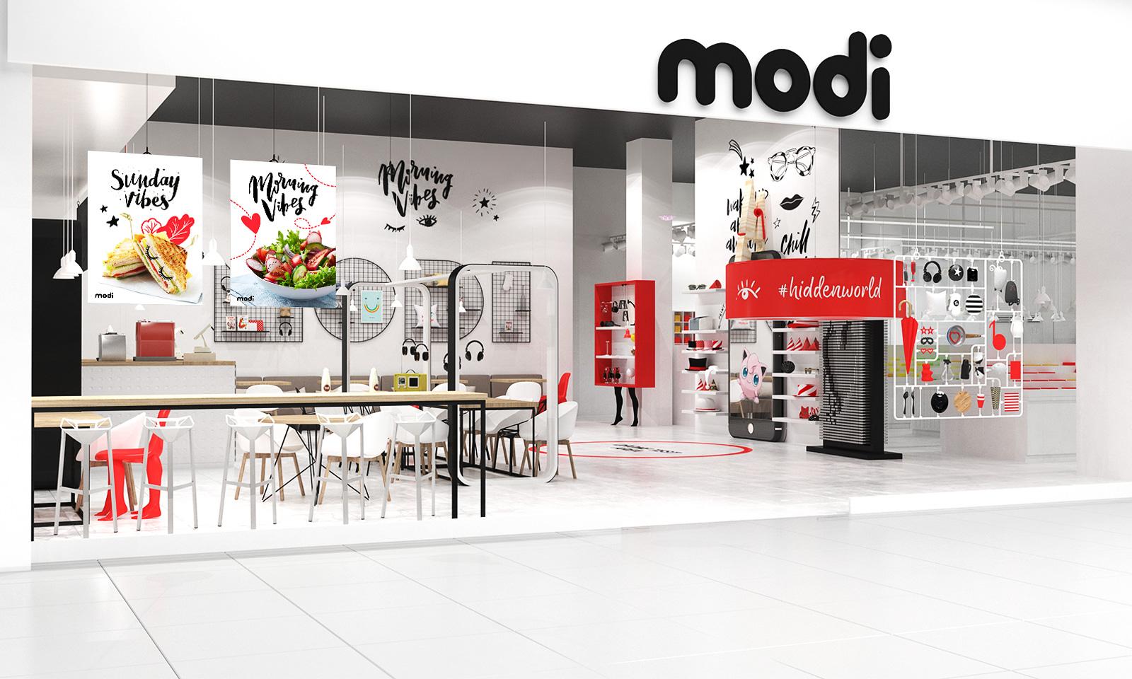 В рамках проекта разработан дизайн кафе Modi Fun Cafe, который будет располагаться внутри торгового пространства магазинов.