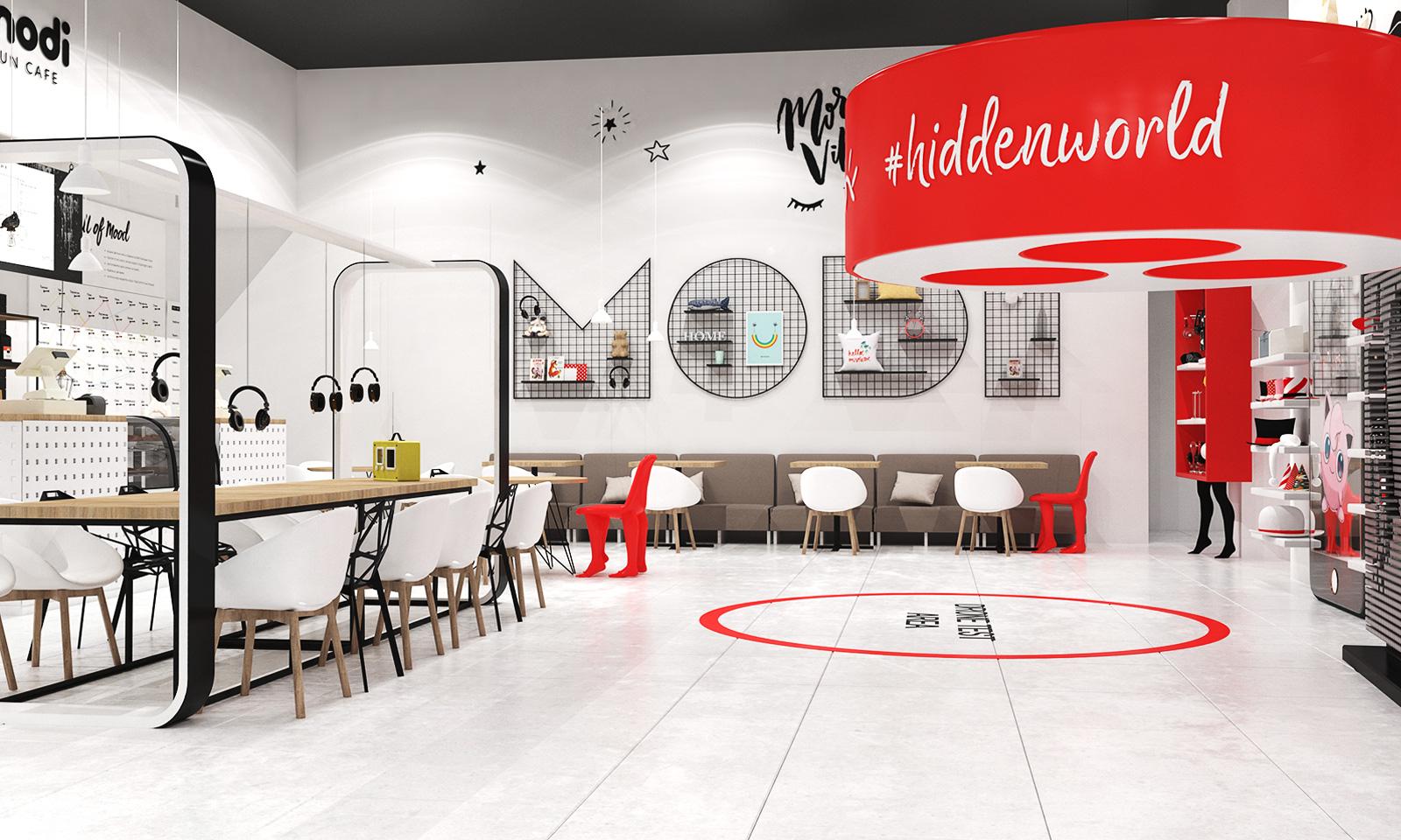 Проект ритейл брендинга Modi предполагает органичную интеграцию фирменного стиля в обновленное пространство бренда