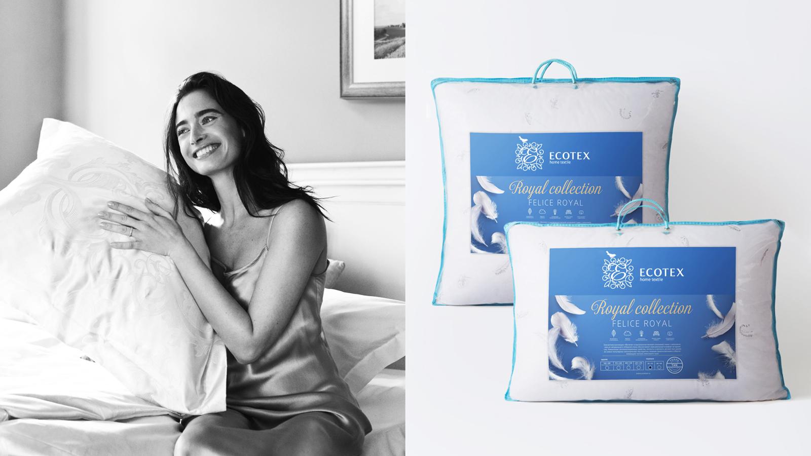 Дизайн упаковки новой линейки Royal Collection подчеркивает мягкость подушек и формируют высокие ожидания от качества