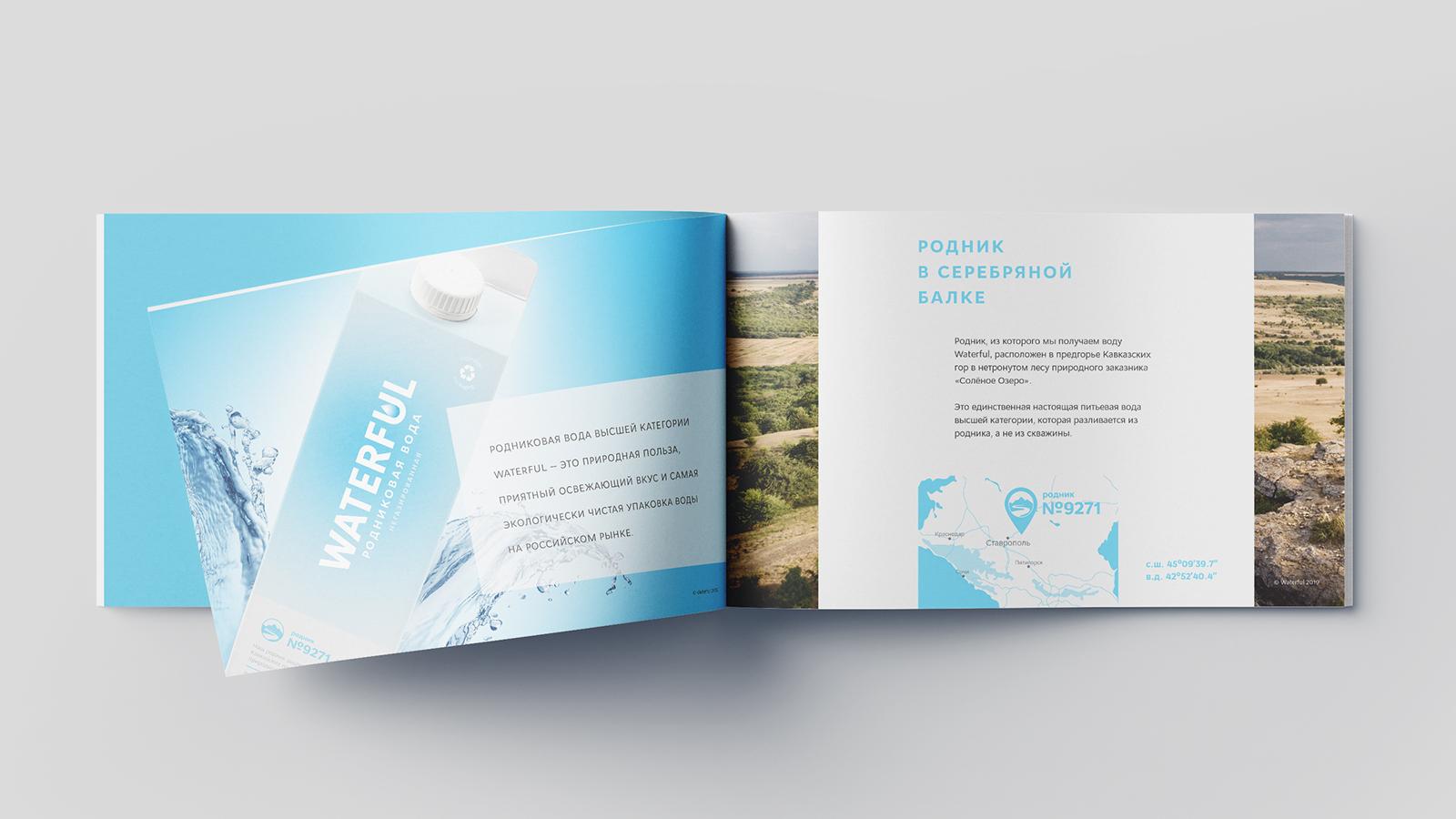 Дизайн каталога уникального бренда родниковой воды Waterful раскрывает ключевые аспекты позиционирования бренда