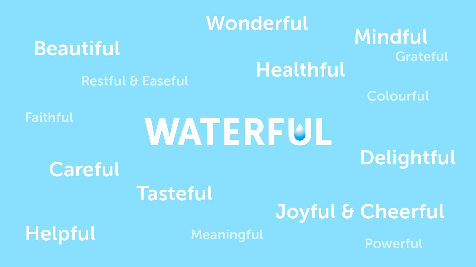 Нейминг Waterful отражает всю палитру ценностей и смыслов в основе философии бренда: water + beautiful, tasteful, healthful, mindful, careful, etc. Waterful — новое слово в осознанном потреблении воды.
