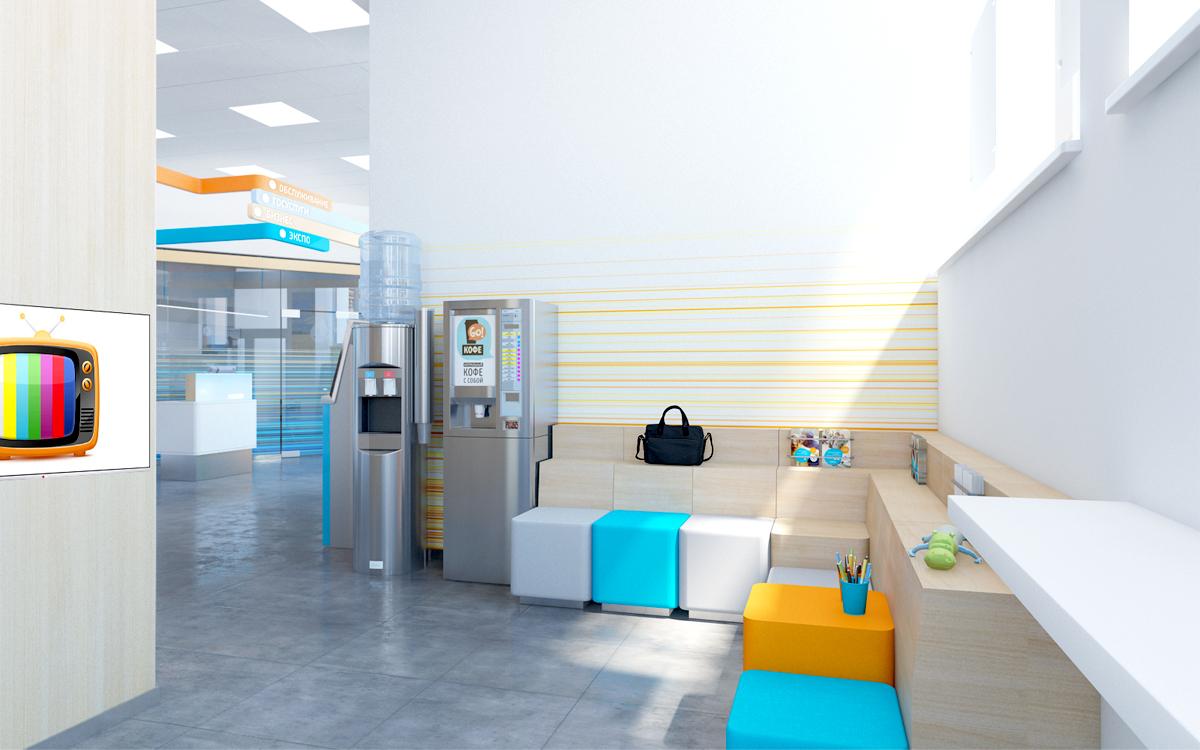 Зона ожидания и пространство для клиентов, пришедших с детьми