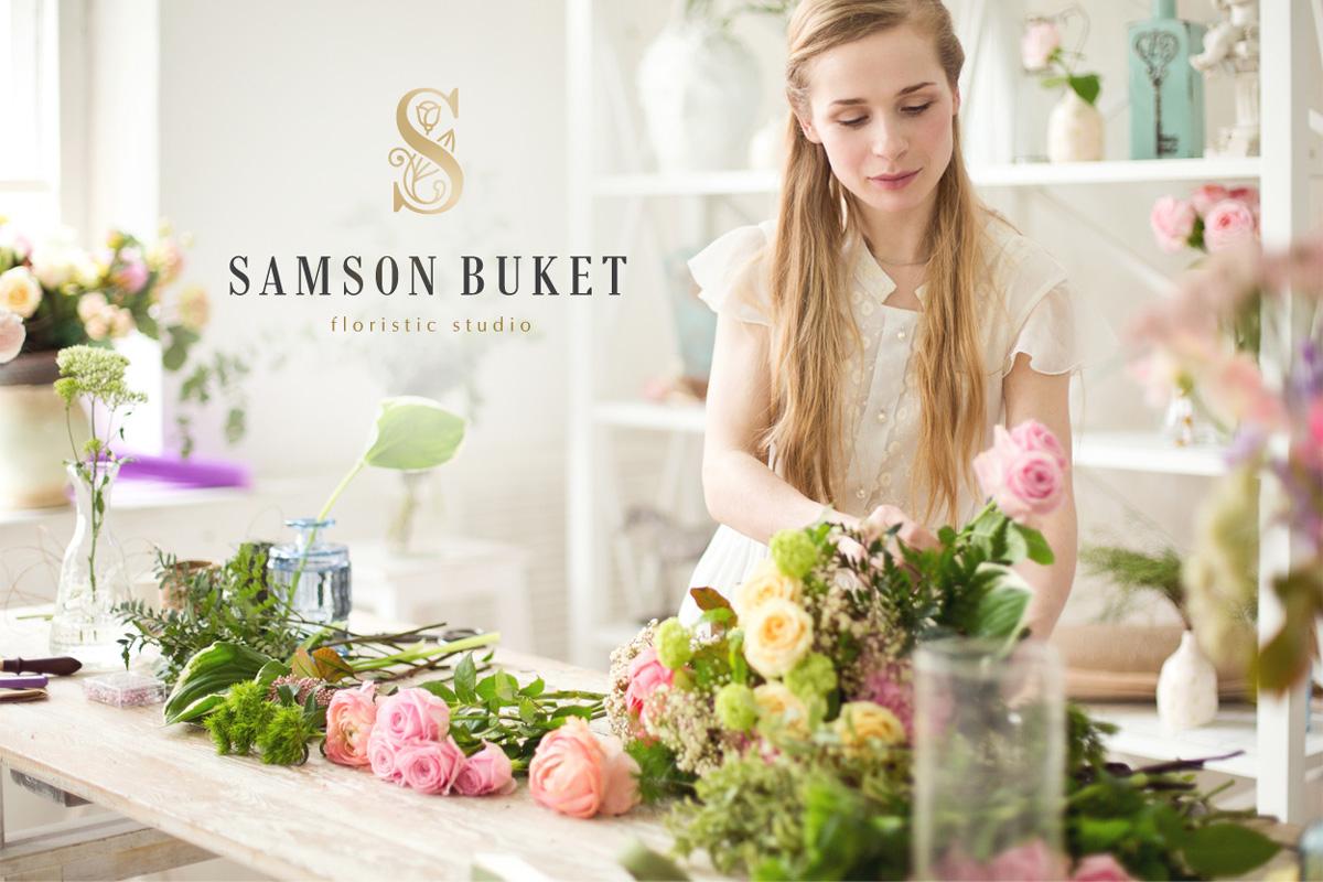 Рестайлинг бренда салона флористики «Самсон Букет»: дизайн логотипа, фирменный стиль, брендбук, позиционирование бренда, дизайн полиграфии.