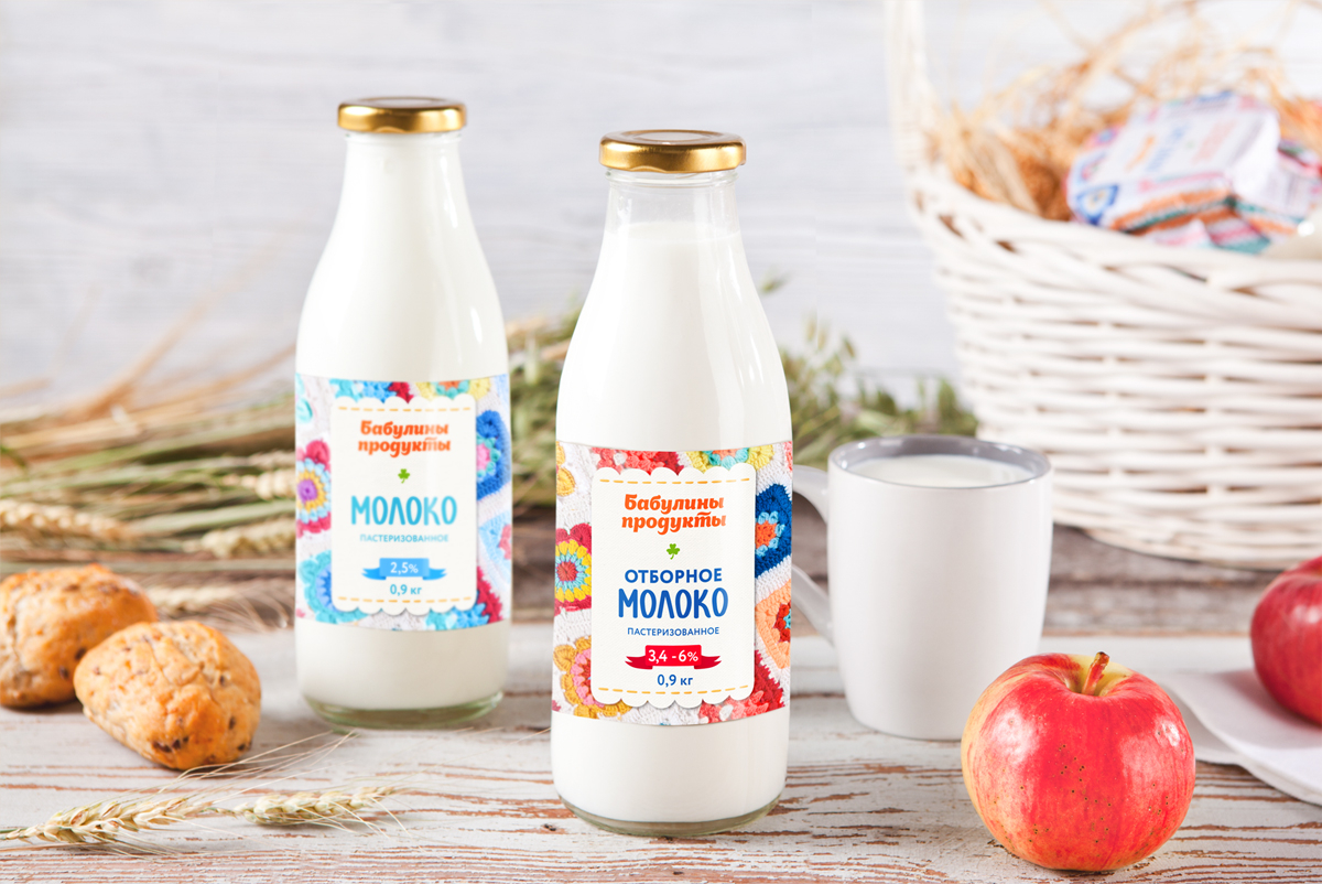 Дизайн упаковки молока «Бабулины продукты» и развитие на ассортимент