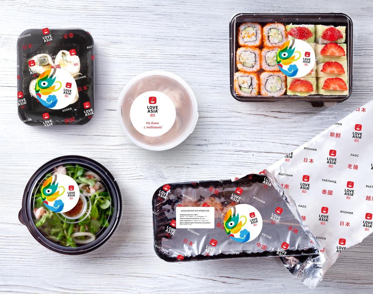 Дизайн упаковки продукции Love Asia на вынос