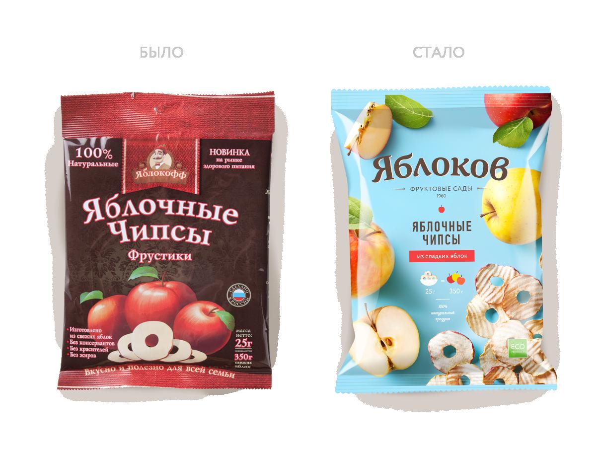Дизайн упаковки «Яблоков»: до и после