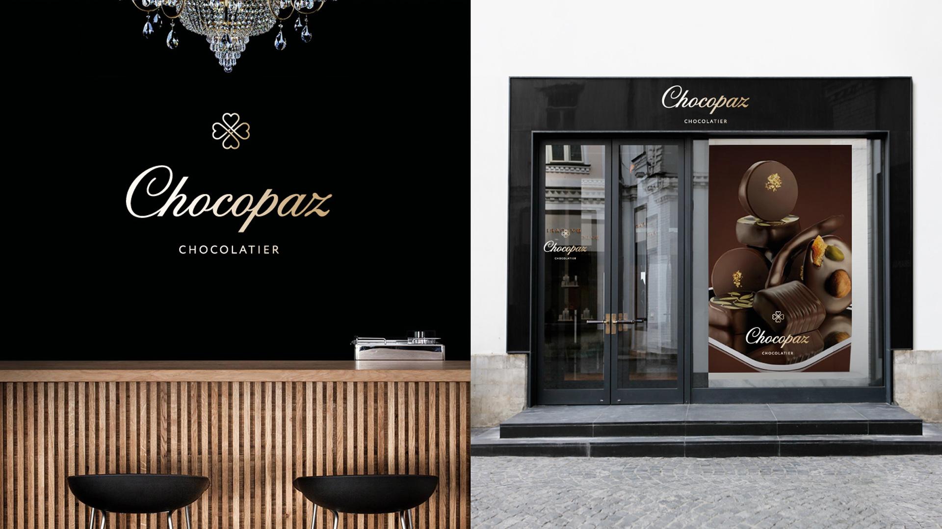 Фирменный стиль Chocopaz в дизайне интерьера и фасада магазина